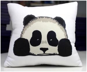Вышивка подушка панды