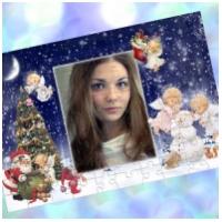 Пазлы с Вашим фото в рамке - Новогодние ангелочки